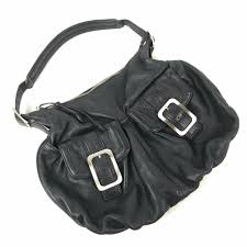 details about cole haan hobo handbag black pebbled leather purse silver buckles