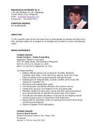 Resume Casino Dealer New Resume 10