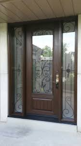 wrought iron exterior doors. Front Entry Wrought Iron Fiberglass Doors With 2 Side LItes Installed In Oakville 8 Foot Door-Woodgrain Rustic Door Lite Exterior