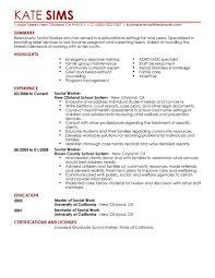 Excellent Design Social Work Resume Examples 8 Worker Sample
