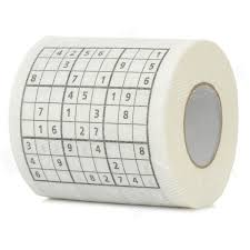 Novelty Sudoku Puzzles Pattern Toilet Paper Roll Tissue - White