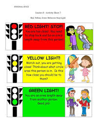 Red Yellow Green Behavior Chart Personal Space Session X Activity Sheet 7 Red Yellow