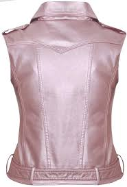 womens pink sleeveless leather vest