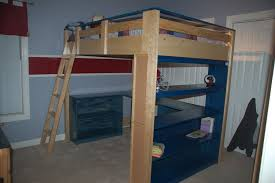 wooden loft bed desk