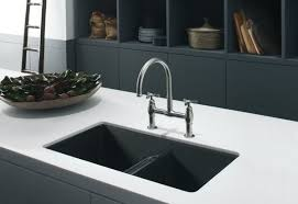 Composite Kitchen Sinks Kblack And White Kitchen Themed With Black