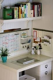 desk - floating shelf above desk Idea for your small office area. Shelving  above with storage on the walls and in desk drawers.