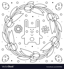 Easter Wreath Rabbit Coloring Page Royalty Free Vector Image