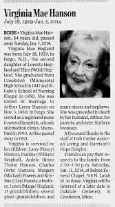 Obituary for Virginia Mae Hanson, 1929-2014 (Aged 84) - Newspapers.com