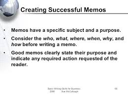 basic writing skills for business ppt  creating successful memos