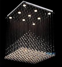 amazing crystal chandelier lamp at modern clear square pyramid rain drop flush