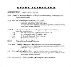 Examples Of An Itinerary Free 9 Sample Event Itinerary Templates In Pdf Word Psd