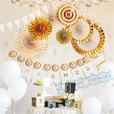 Paper Rosette Flower 10 Sets 80pcs Foil Gold Party Pinwheel Backdrop Paper Rosette