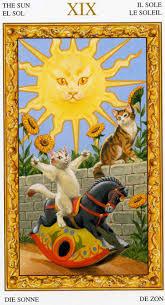 XIX Le soleil Tarot chats blancs par Severino Baraldi TAROT.