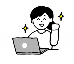 パソコン作業中ガッツポーズする女性のイラスト 無料イラスト素材