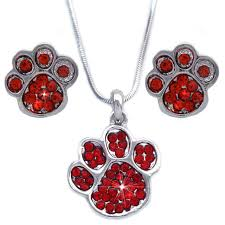 doggy dog bear paw pendant necklace stud earrings set red crystal s2084r