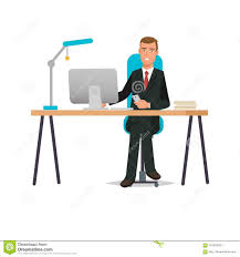 computer desk office works. Contemporary Office Businessman Working Cartoon Character Person In Office Work Situations  Man Worker At Desk Near Computer The Table To Computer Desk Office Works E