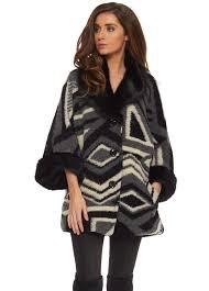 black aztec print faux fur collar cuffs short coat
