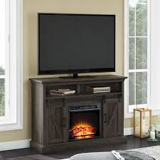 whalen allston barn door media fireplace for 55 tvs up to 135 lbs warm brown