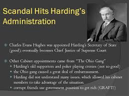 「Harding's presidency was overshadowed by the criminal activities of some of his cabinet members」の画像検索結果