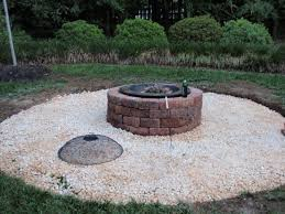 Rocky Fire Pit Design Outdoor Patio Raised Limestone Four Chair