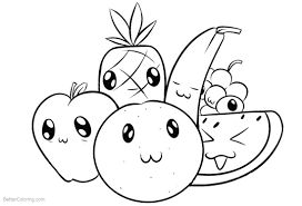 Cute Food Coloring Pages Cartoon Fruits Free Printable Coloring Pages
