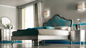 turquoise bedroom furniture. Wall Light Fixture Beside Floral Accent Turquoise Headboard Low Profile Bed Frame In Luxury Grey And Bedroom Themes Furniture E
