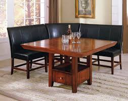 dining room l shaped black leather dining bench with back added by square brown wooden