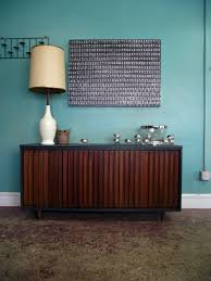 mid century retro deep charcoal sideboard buffet media stand with four sliding doors