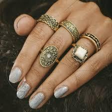 whole saleHOCOLE <b>5Pcs Sets</b> Handmade <b>Fashion</b> Stone Midi Ring ...