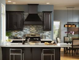 Fantastic Design Of The Black Wooden Dark Kitchen Cabinets Ideas With White  Tops And Grey Backsplash