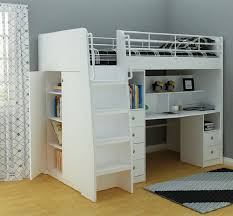 image of modern full size loft bed with desk for s