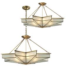 elk 22016 8 decostar contemporary brushed brass ceiling light fixture pendant hanging light loading zoom