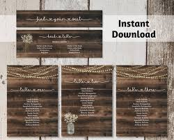 Wedding Seating Chart Printable Template Rustic Wood