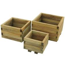 kendal square wooden planters set of 3