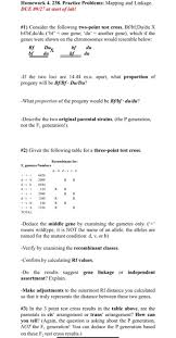 Gene Mapping Problems Solved Homework 4 238 Practice Problems Mapping And Lin
