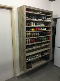 Shelves Made From Pallets Giant Shoe Rack Made Out Of Discarded Pallets O Pallet Ideas