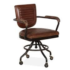Image Desk Chair Cult Living Jax Office Chair Premium Leather Upholstered Vintage Brown Cult Furniture Vintage Brown Jax Leather Office Chair Luxury Retro Furniture