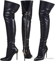 y over the knee women boots pointed toe zipper heel golden double metal zipper thin high heel shoes black geniune leather celebreity boot