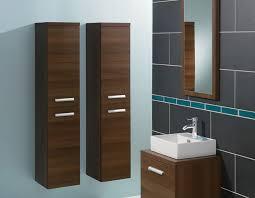 dark wooden bathroom wall cabinets with ceramic sink