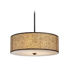 modern drum chandeliers modern drum pendant light with amber glass in aged bronze