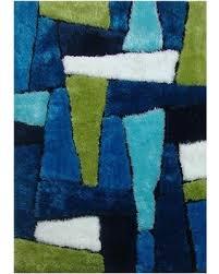LA RUG Bright Multi Color Area Rug Rugs Carpet Shag Shaggy Viscose Puzzle  Green Blue
