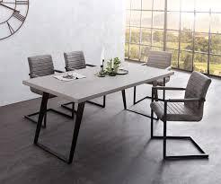 Delife Esstischgruppe Cement Edge 200x100 Cm Grau Mit 6 Stühlen Esstischgruppen