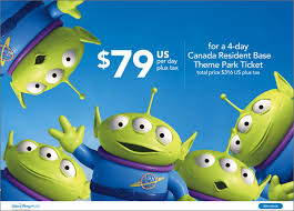 with this offer canadian residents can purchase an 4 day or longer base theme park ticket for as low as 316 usd plus tax that s just 79 usd per day