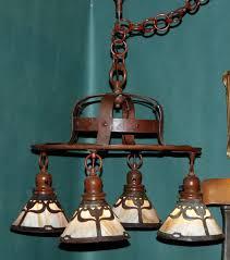 arts and crafts chandelier. Arts And Crafts Hammered Copper Handel Chandelier With Slag Glass Tulip Design Shades.