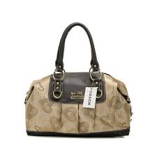 Coach Logo In Monogram Medium Khaki Satchels DOD