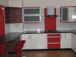 Red And White Kitchen Modern Big Kitchen Room With Cabinetry With White Granite