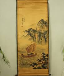 antique painting traditional chinese qi baishi sailing painting scroll painting old paper painting