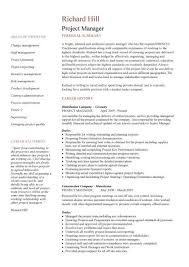 Stylish Design Construction Project Manager Resume Sample Project