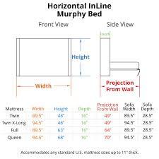 full mattress size. Horizontal InLine Murphy Bed Dimensions Full Mattress Size B