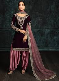 Pink Velvet Suit Design Dusty Green Floral Embroidered Organza Anarkali Lashkaraa